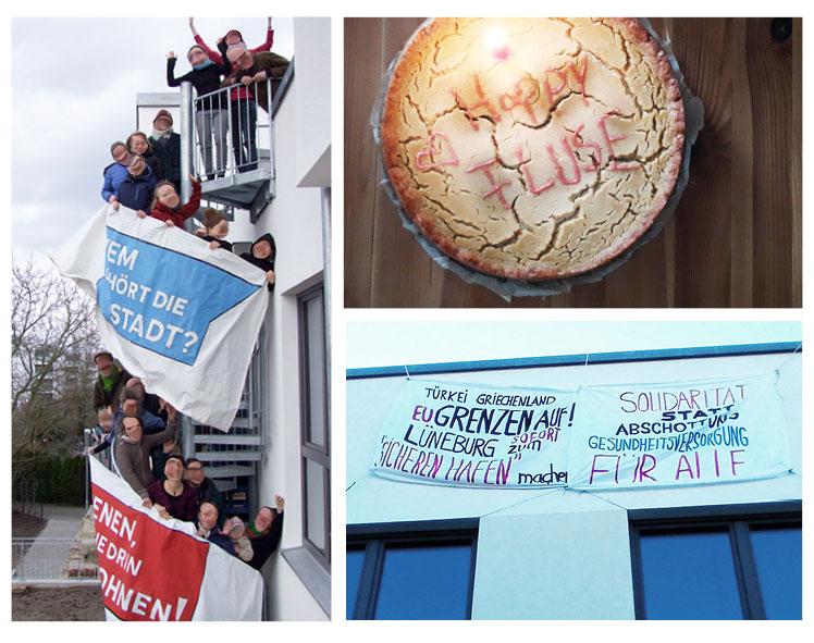 Collage: Die Hausbewohner*innen auf der Wendeltreppe / veganer Käsekuchen mit Aufschrift HAPPY FLUSE