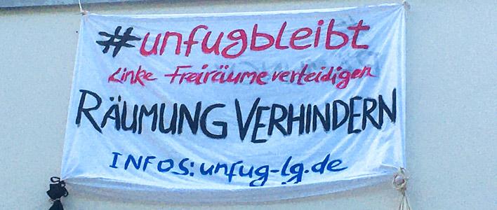"""Banner """"#unfugbleibt"""""""